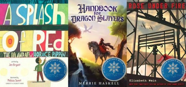 A picture showing covers of 2014's Schneider Award winners: A Splash of Red, Handbook for Dragon Slayers, and Rose Under Fire.